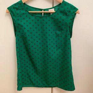 Merona Green Print Short Sleeve Top